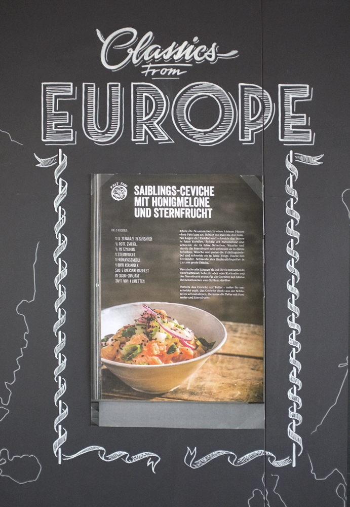 eat.ch, Classics from Europe, Wandgestaltung Schriftenmalerei, Wandbeschriftung, hand gemalt, Tafelbeschriftung, Tafelmaler