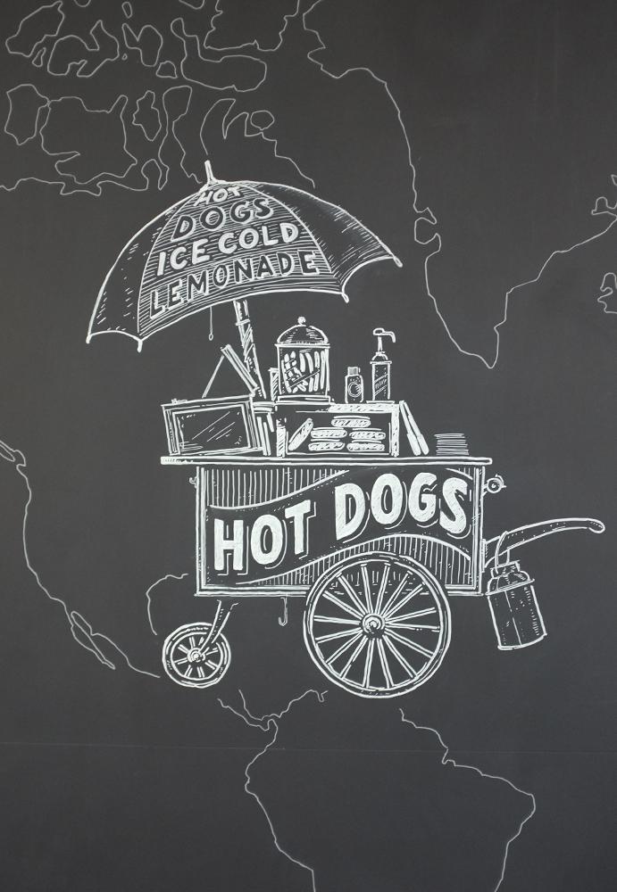 eat.ch, hot dog, Wandgestaltung Schriftenmalerei, Wandbeschriftung, hand gemalt, Tafelbeschriftung, Tafelmaler