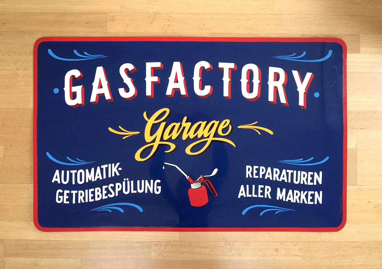 Garage Gasfactory Schild Kreidetafel, Schriftenmalerei, sign painting, Schaufensterbeschriftung, Wandbeschriftung, hand gemalt, Tafelbeschriftung, Tafelmaler, reverse glass painting