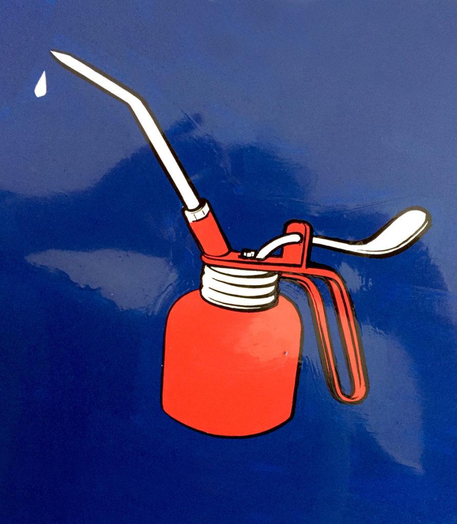 Garage Gasfactory Schild, Öl Kreidetafel, Schriftenmalerei, sign painting, Schaufensterbeschriftung, Wandbeschriftung, hand gemalt, Tafelbeschriftung, Tafelmaler, reverse glass painting