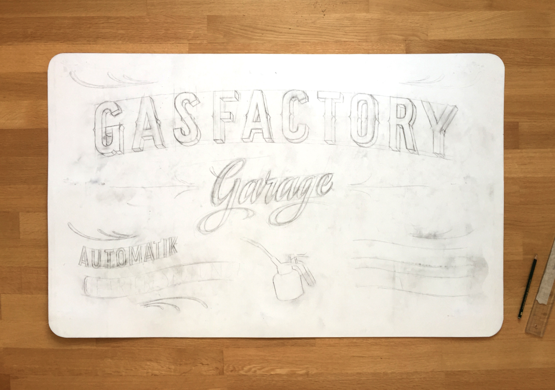 Garage Gasfactory Schild, Skizze Kreidetafel, Schriftenmalerei, sign painting, Schaufensterbeschriftung, Wandbeschriftung, hand gemalt, Tafelbeschriftung, Tafelmaler, reverse glass painting