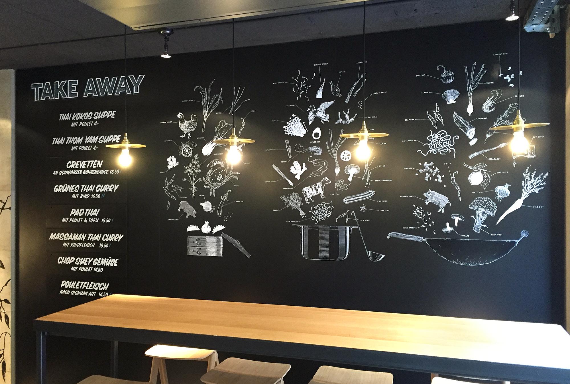 Suan Long Restaurant, Wandbeschriftung, food explosions, mural Schriftenmalerei, Wandbeschriftung, Aussenbeschriftung, hand gemalt, Tafelbeschriftung, Tafelmaler