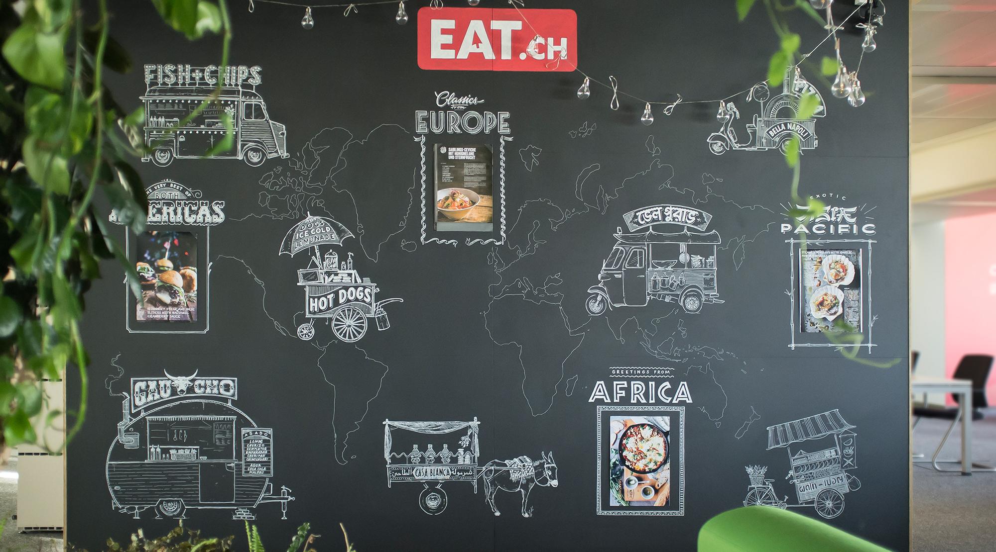eat.ch office mural, Wandgestaltung Schriftenmalerei, Wandbeschriftung, hand gemalt, Tafelbeschriftung, Tafelmaler