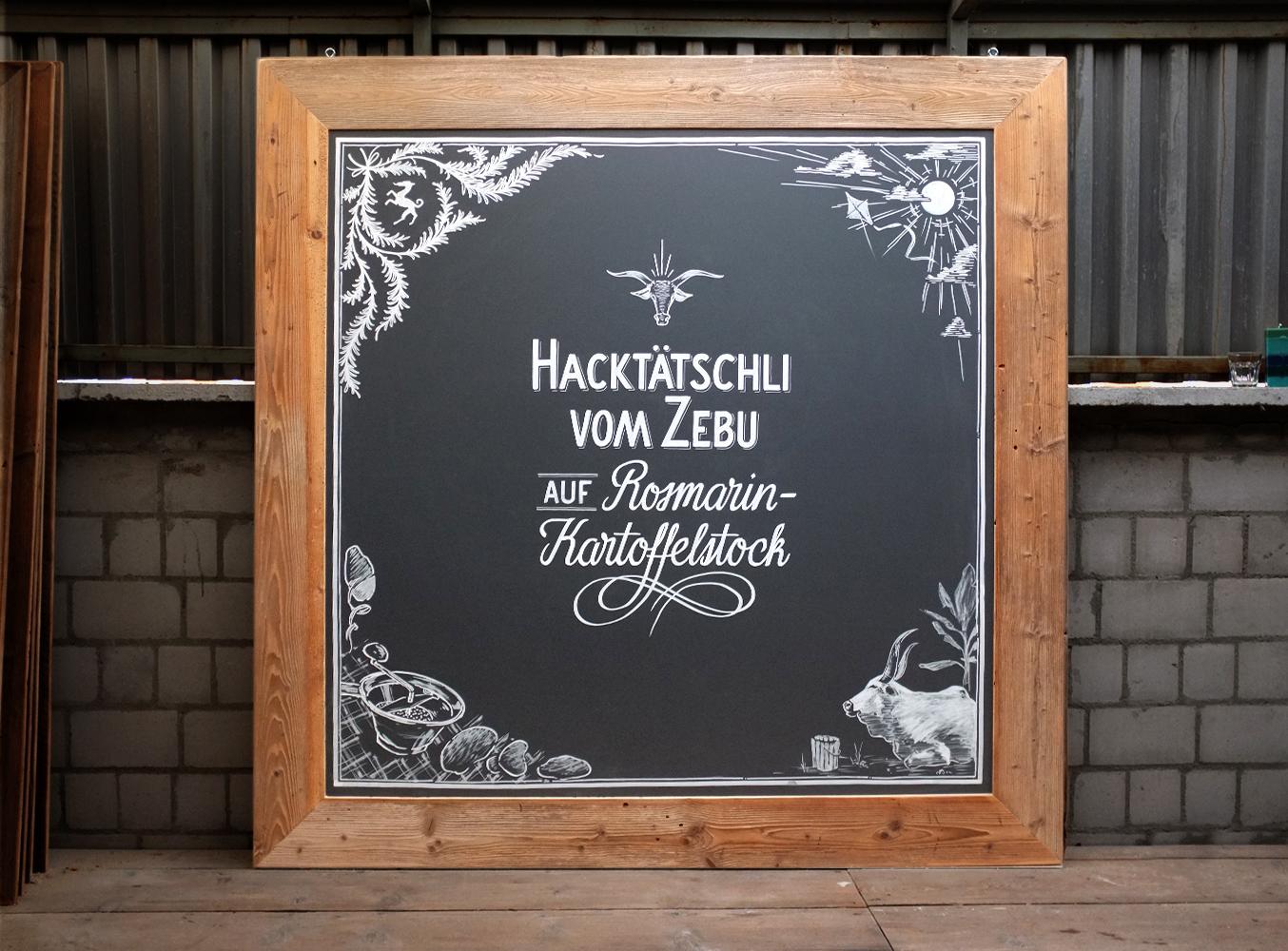 Notenstein La Roche Privatbank, Menu, Zebu, Kreidetafel, Schriftenmalerei, Wandbeschriftung, hand gemalt, Tafelbeschriftung, Tafelmaler
