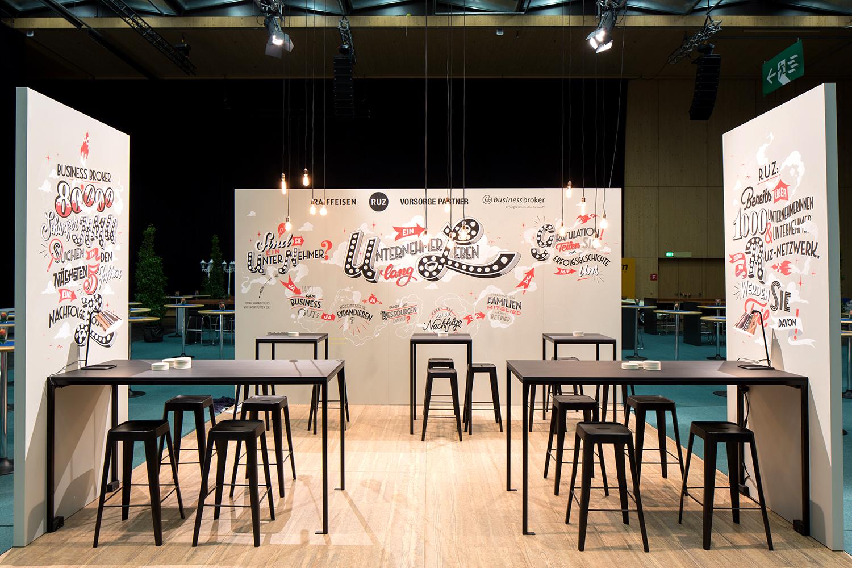 Raiffeisen Wandbeschriftung, KMU-Tag 2016, ein Unternehmerleben lang – Tafelbeschriftung: Tafelmaler