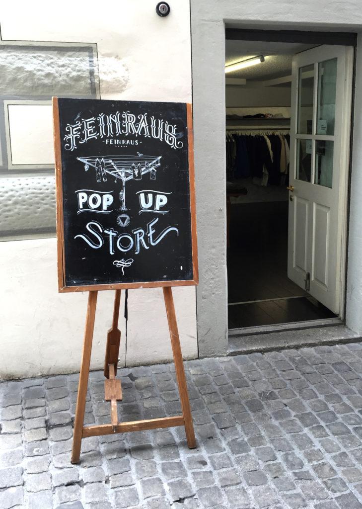 Feinraus pop up store, Kundenstopper Kreidetafel, Schriftenmalerei, Wandbeschriftung, hand gemalt, Tafelbeschriftung, Tafelmaler