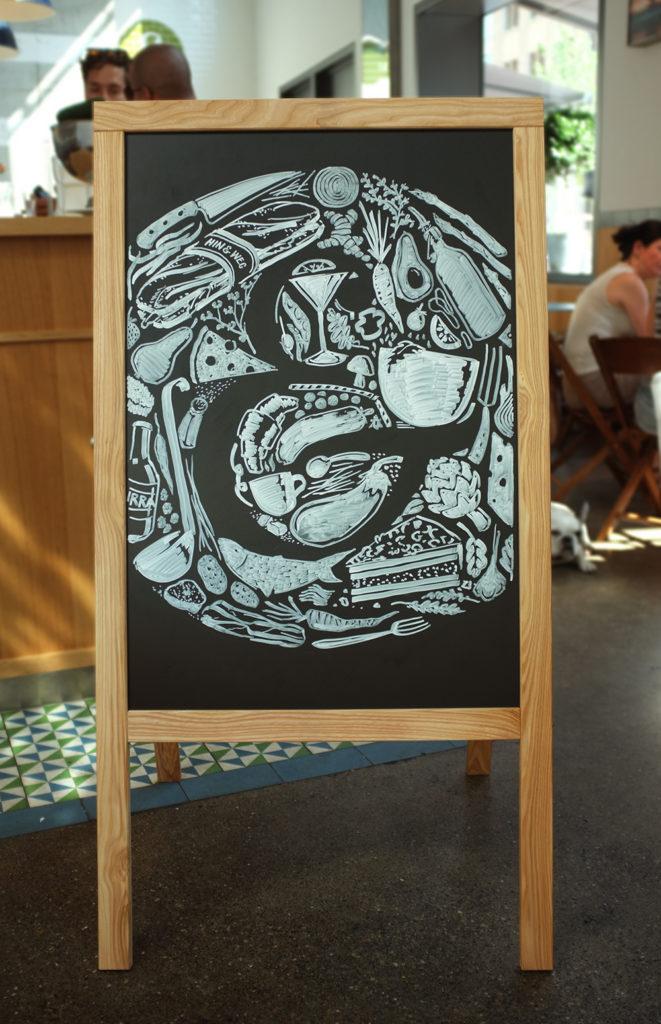 Hin&weg, Strudel, Kundenstopper Kreidetafel, Schriftenmalerei, Wandbeschriftung, hand gemalt, Tafelbeschriftung, Tafelmaler