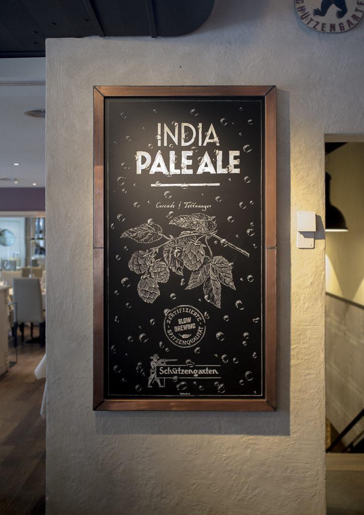 Brauerei Schützengarten, India Pale Ale, IPA Schriftenmalerei, Wandbeschriftung, Aussenbeschriftung, hand gemalt, Kreidetafel, Tafelbeschriftung, Tafelmaler