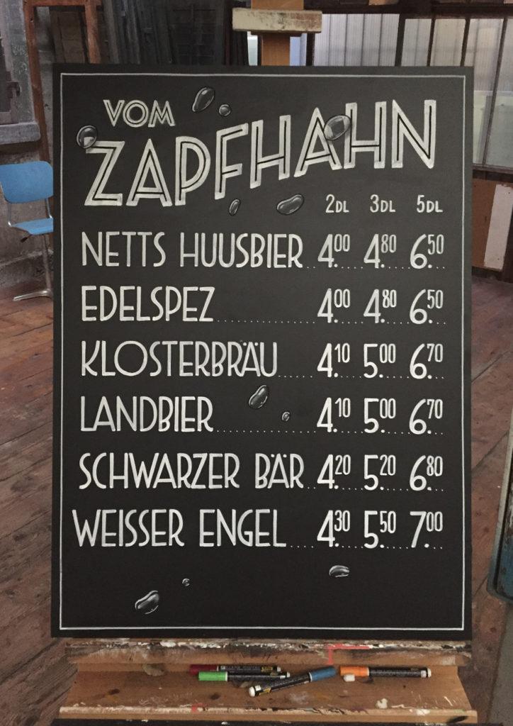 Brauerei Schützengarten, Offen Bier, Angebot Schriftenmalerei, Wandbeschriftung, Aussenbeschriftung, hand gemalt, Kreidetafel, Tafelbeschriftung, Tafelmaler