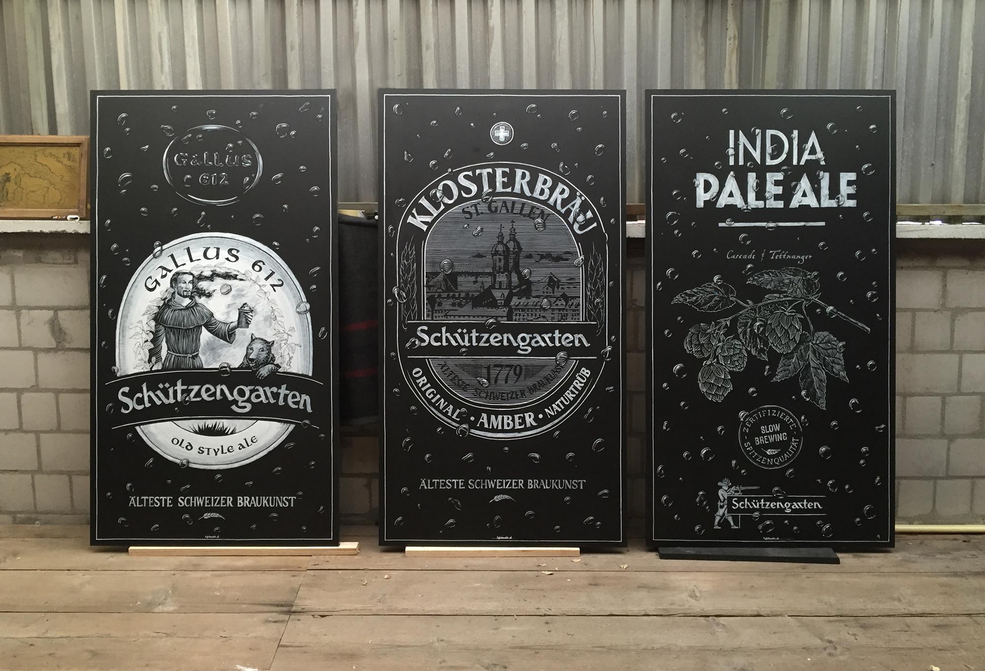 Brauerei Schützengarten, Schriftenmalerei, Wandbeschriftung, Aussenbeschriftung, hand gemalt, Kreidetafel, Tafelbeschriftung, Tafelmaler