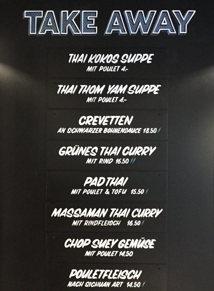 Suan Long Restaurant, Wandbeschriftung, take away Angebot, sign painting Schriftenmalerei, Wandbeschriftung, Aussenbeschriftung, hand gemalt, Tafelbeschriftung, Tafelmaler