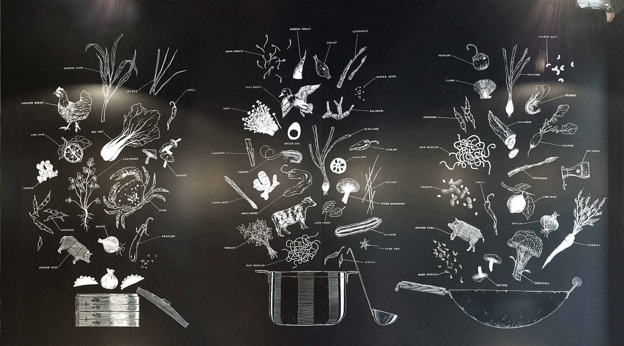 Suan Long Restaurant, Wandbeschriftung, Wok, food explosions, mural Schriftenmalerei, Wandbeschriftung, Aussenbeschriftung, hand gemalt, Tafelbeschriftung, Tafelmaler